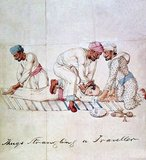 'Thugs' (literally 'thag', or practitioners of 'thaggi') deceived and strangled travellers: painting by an Indian artist, for Captain James Paton, Assistant to the Resident at Lucknow, 1829-1840.<br/><br/>  Thuggee (from Hindi ṭhag 'thief', verb, thugna, to deceive, from Sanskrit sthaga 'cunning', 'sly', 'fraudulent', 'dishonest', 'scoundrel') is the term for a particular kind of murder and robbery of travellers in South Asia and particularly in India.<br/><br/>  Thuggee trace their origin to the battle of Kali against Raktabija; however, their foundation myth departs from Brahminical versions of the Puranas. Thuggee consider themselves to be children of Kali, created out of her sweat. This is similar to the way Kali was created from aggression and willingness to fight Durga.<br/><br/>  According to some sources, especially old colonial sources, Thuggee believe they have a positive role, saving humans' lives. Without Thuggee's sacred service, Kali might destroy all human kind.
